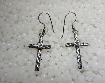 Sterling Silver Cross Stamped Earring