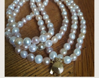 Vintage double strand cultured pearls Natural colors