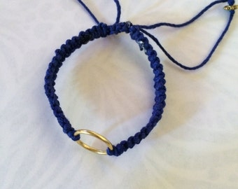 Braided hemp bracelet with beaded accents