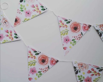 Floral Watercolour Bunting | DIY Decorations | Printable Party Supplies | Party Decoration | Paper Bunting | Flowers