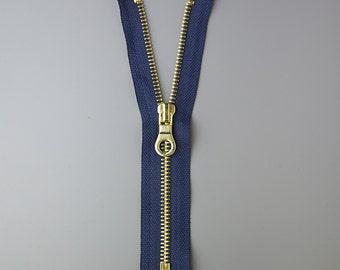 17.5cm Brass Zipper with Navy Tape, UK Stock