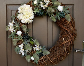 Artificial Floral Wreath, Spring Wreath, Sea Holly Wreath, Hydrangea Wreath, Twig Wreath, Flower Wreath, Front Door Wreath, Spring Wreath