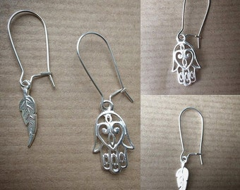 925 Silver Earring Hook with a choice of Silver 925 pendant charm