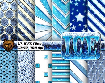 ice digital paper, ice background, ice scrapbook paper,
