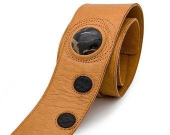 Tan leather guitar strap, Brown guitar strap with stone - the LUV CHILD