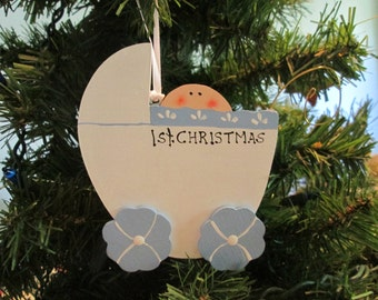 wooden christmas ornament baby boy first christmas