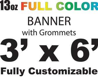 3x6 full color custom banner, free shipping, fast printing