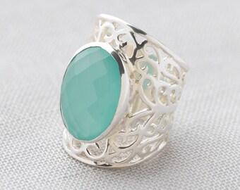 Handmade, Sterling Silver 925 Aqua Chalcedony Ring