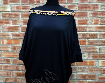 Bat sleeve top with decorative plaited neckline