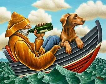 "Giclee print signed by the artist Graham McKean. Title of print ""What shall we do with a drunken sailor""."