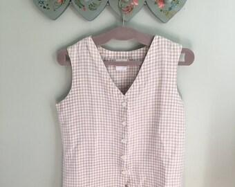 Gingham Shirt Vest Top Buttoned Medium