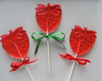 10 Strawberries Strawberry Shortcake Lollipops Shower Birthday Party Favors Candy