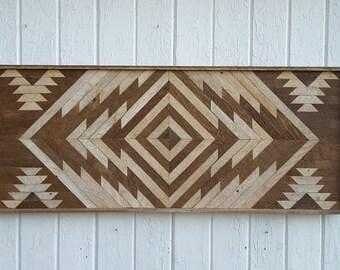 Reclaimed Wood Wall Art - Twin Headboard - Chevron Design - Lath Art Sale- Wall decor - Rustic - Mosaic - Geometric Art - Home Decor