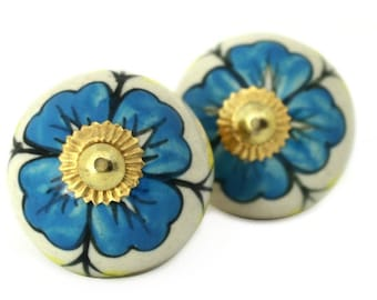 Ceramic Cabinet Knob with Big Blue Flower