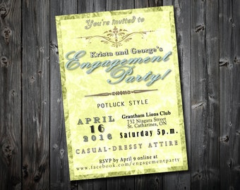 Classic Engagement Party Invitation, Personalised Digital File
