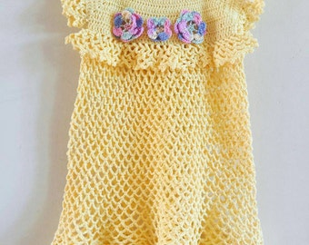 Yellow cotton crochet dress with 3 flowers on front