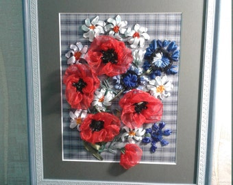 """Satin Ribbon Embroidery Artwork """" The Cheerful Meadow  """"Summer find"""