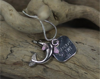 Silver Dreaming of the Sea Dolphin Necklace
