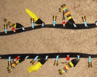 Trade Cloth bandolier With deer toes crow beads thimbles