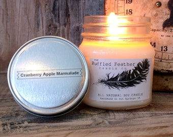 Cranberry Apple Marmalade Soy Candle, All Natural Soy Candle, 8oz, The Holiday Shoppe @ The Ruffled Feather Candle Co.
