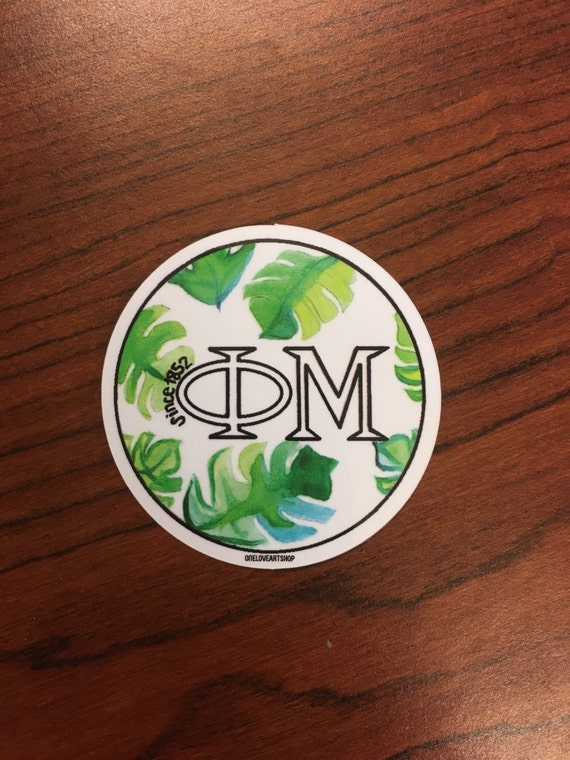 Phi Mu Watercolor Palm Sticker