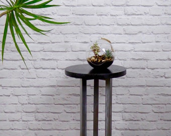 Ebonised Oak and Steel Side Table/ End Table, Modern Industrial