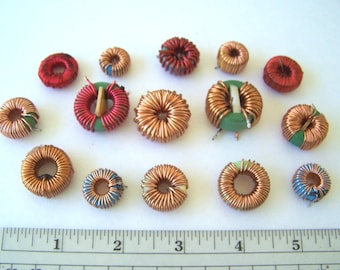 Copper Wound or Wrapped Inductors 15 Pieces, Toroidal Coils, Geek Jewelry Supply, Recycled Computer Parts, Wire Wrap Toroids, Steampunk