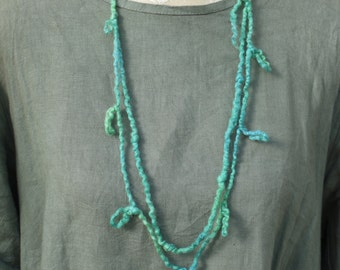 Colourful felted loops necklace