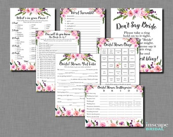 7-Games MEGA Bundle, Floral Bridal Shower Games, Rustic Bridal Shower Games, Bingo, Mad Libs, Scattergories, How Well do you know the Bride?