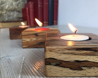 Unique wooden tea light candle holder (Square), Scottish spalted beech wood, handmade, natural