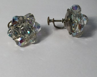 Vintage Earrings Cluster clear beaded clip on