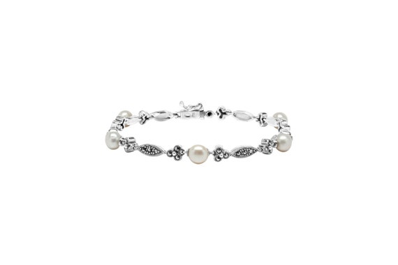 925 Sterling Silver Marcasite Bracelet with Pearl