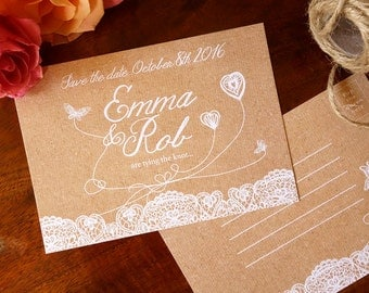 Hand drawn lace A6 save the date postcard on rustic laid textured card.