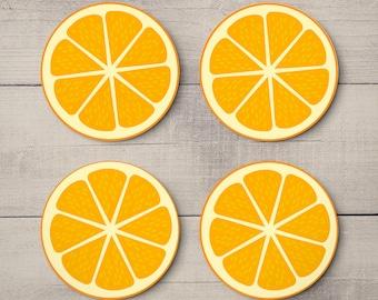 Summer Fruits Orange - Citrus Fruit Bar Coasters - Drink Mats - Handmade Personalised Wedding Decor & Gifts - Set 4