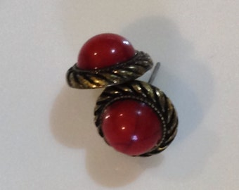 Red and metal vintage costume jewellery