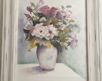 Garden Flowers, Garden, Flowers, Vase, Painting, Flower Painting, Watercolor, Watercolor Painting, Roses, Roses Painting, Gift,Gift Painting