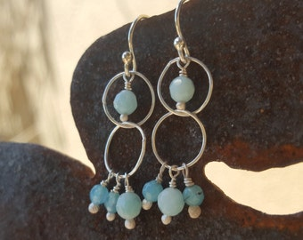 Amazonite and teal dyed jade sterling silver earrings