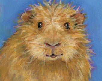 Goldie the Guinea Pig, Original Oil Painting