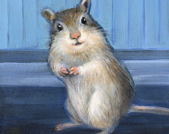 Gerbil Print, Small Animal Art, Animal Print, Art Print for Child's Room