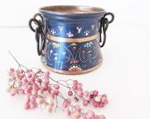 Vintage Copper Mini Boiler, Hand painted, Copper Boiler,Rustic Pot,Farmhouse Chic