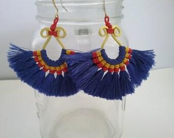 Macrame Earrings. Handmade. Cotton Waxed ,Yarn & Brass