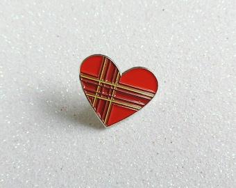 Tartan/Plaid Heart, Enamel Pin Badge - Accessory, Wedding, Brooch, Lapel Pin, Punk, Love, Scottish, Scotland, Textiles, Collar, British