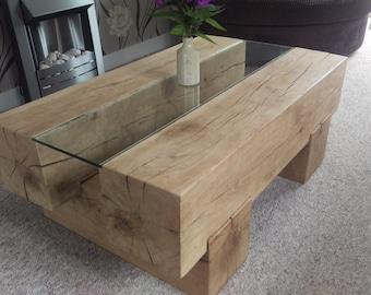 articles similaires table basse poutre ch ne anglais sur etsy. Black Bedroom Furniture Sets. Home Design Ideas