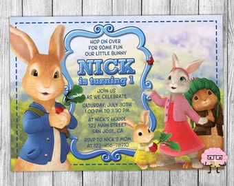 Peter Rabbit Invitation, Peter Rabbit Invitations, Bunny Party Birthday, Beatrix Potter Invites, Peter Cottontail Printable Invite, Custom