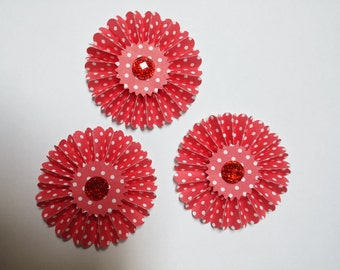 Paper Rosettes decorations set of 3 red and white polka dot