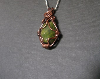wire wrapped green stone necklace
