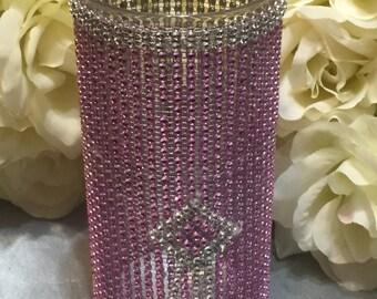 Wedding Cylinder Vase Pink & Silver with Rinestones
