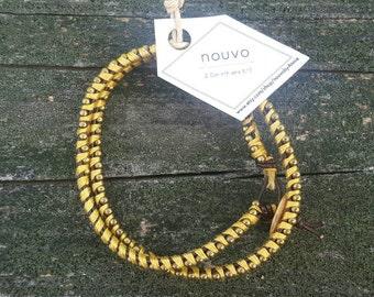 Double Wrap Leather Bracelet - Yellow//Bronze