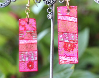 Chiyogami pink poem - Japanese,rectangle, light, wooden earrings