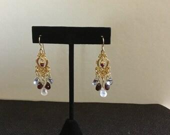 Beautiful Rose Quartz, Mystic Quartz and Garnet Earrings with a Hint of Ruby